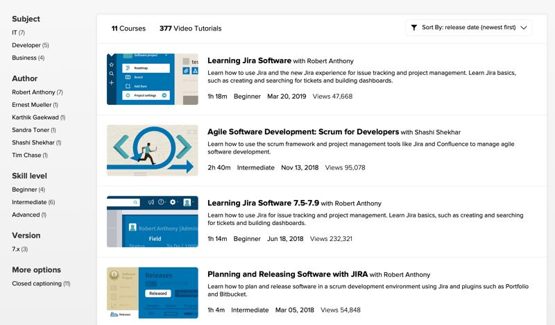 Lynda.com Jira training courses